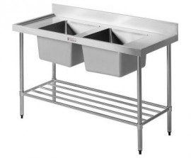 Simply Stainless SS06.7.1200 Double Bowl Sink Bench with Splashback