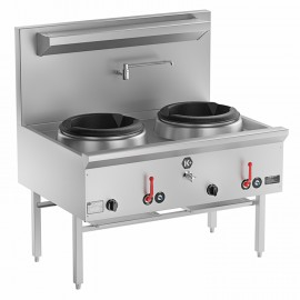 B & S UFWWK-2SB2 - K+ Range Two Hole Waterless Wok Table with Two RHS Burners