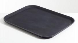 Chef Inox Rectangular Black Plastic Tray Non Slip 350x450