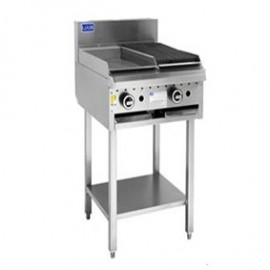 Luus CS-3P3C 300mm Griddle 300mm Chargrill Combination with legs & shelf