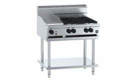 B & S BT-SB2-GRP6 - Combination Two Open Burners & 600mm Grill Plate
