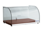 Exquisite CD25-W One Tier Curved Glass Ambient Cake Display - Elegant Walnut