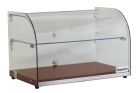 Exquisite CD45-W Two Tiers Curved Glass Ambient Cake Display - Elegant Walnut