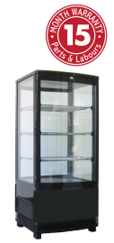 Exquisite CTD78 Four Sided Glass Counter Top Display Refrigerators - Black