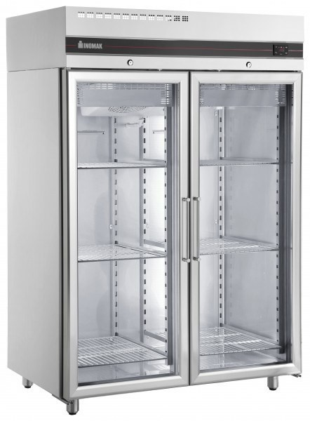 Inomak Ufi1140g Double Door Upright Refrigerator Glass Doors