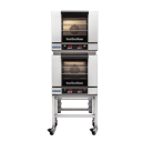 Turbofan E23D3/2 - Half Size Digital Electric Convection Ovens Double Stacked on a Stainless Steel Base Stand