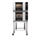 Turbofan E23T3/2 - Half Size Electric Convection Ovens Touch Screen Control Double Stacked on a Stainless Steel Base Stand