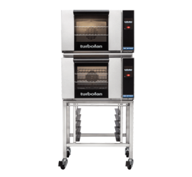 Turbofan E23T3/2C - Half Size Electric Convection Ovens Touch Screen Control Double Stacked on a Stainless Steel Base Stand