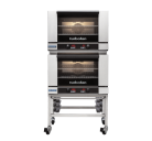 Turbofan E27D2/2 - Full Size Digital Electric Convection Ovens Double Stacked on a Stainless Steel Base Stand