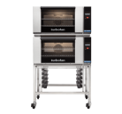 Turbofan E27T2/2 - Full Size Electric Convection Ovens Touch Screen Control Double Stacked on a Stainless Steel Base Stand