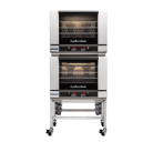 Turbofan E28T4/2 - Full Size Electric Convection Ovens Touch Screen Control Double Stacked on a Stainless Steel Base Stand