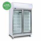 Bromic GD1000LF 976L LED Two Flat Glass Door Display Refrigerator