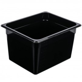 1/2 Size Polycarbonate Steam Pan Black - 150mm deep
