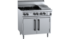 B & S (B+S) OV-SB4-GRP3 Black Oven with 300mm Grill Plate & Four Open Burners