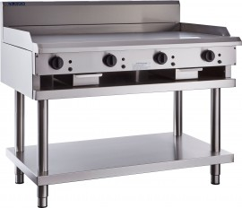 Luus CS-12P (CP) 1200mm Chrome Plated Griddle with legs & shelf