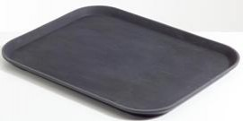 Chef Inox Rectangular Black Plastic Tray Non Slip 405x550mm
