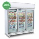 Bromic UF1500LF 1507L LED Three Flat Glass Door Display Freezer