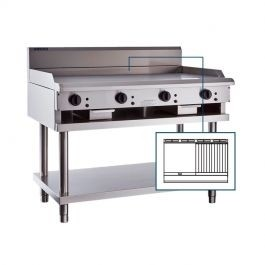 Luus CS-6P6C 600mm Griddle 600mm Chargrill Combination with legs & shelf