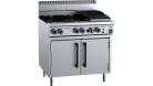 B & S (B+S) OV-SB4-CBR3 Black Oven with 300mm Char Broiler & Four Open Burners